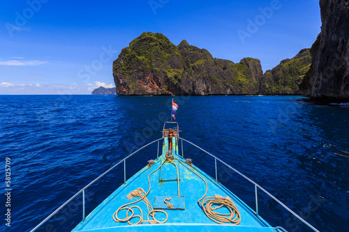 boat for travel kho phi phi island at krabi thailand