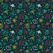 seamless pattern colorful Christmas items