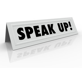 Speak Up Words Tent Name Card Share Opinion