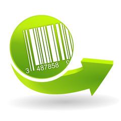 code-barres sur symbole vert