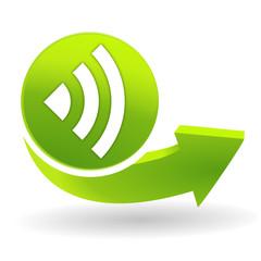 onde sur symbole vert