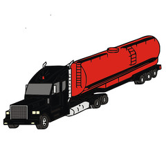 vector drawing of a fuel tanker truck