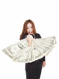 happy businesswoman showing the money