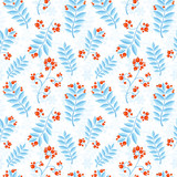 Floral seamless pattern with winter ash berry