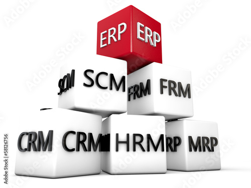 ERP and relevant Symbolic Cubes over white Background