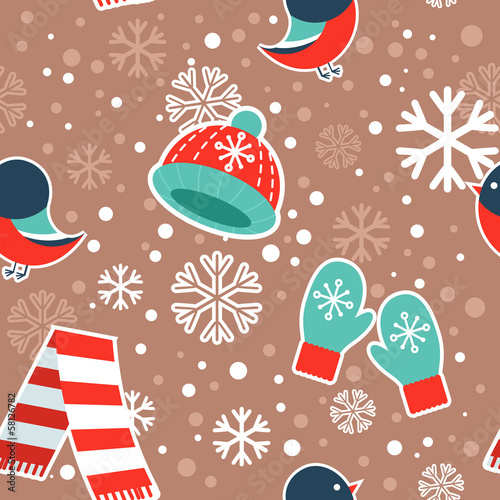 Cute winter seamless pattern on snowflakes background