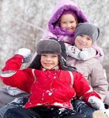 Happy children in winter park