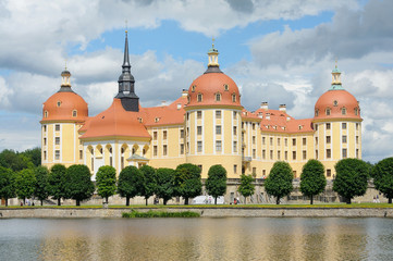 Beautiful Moritzburg Palace near Dresden, Germany in spring time