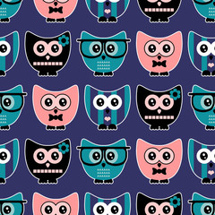 Seamless pattern with cute various owls