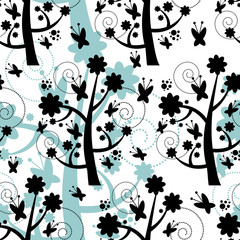 Seamless pattern with beautiful trees silhouettes
