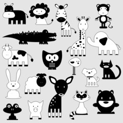 Cute cartoon animals set wild and domestic