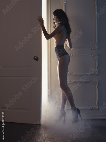 Sensual lady in classical interior