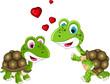 cute couple turtle cartoon