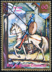 stamp printed in Equatorial Guinea shows Don Quixote