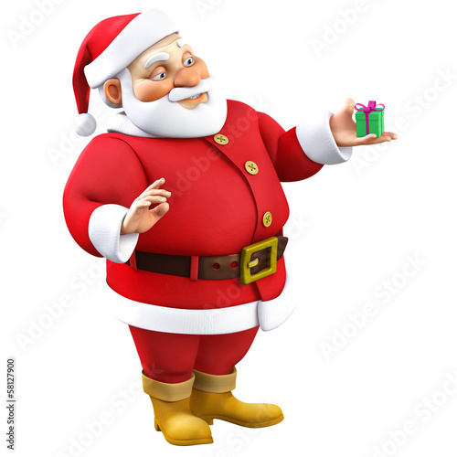 3d cartoon santa with present