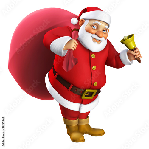 3d cartoon santa with a bell