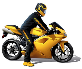 Yellow Bike And Biker
