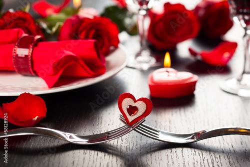 Poster Situatie place setting for Valentine's day