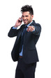 business man pointing finger while talking on smartphone