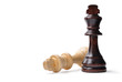 Two king chess pieces with copyspace