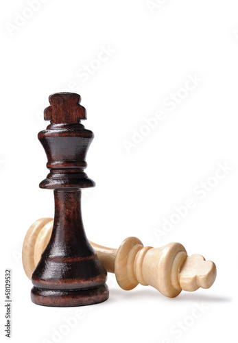 Two chess pieces, one dark and one light