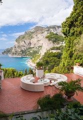 View from a luxurious terrace on the island of Capri, Italy..