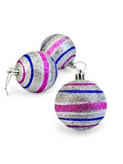 Christmas balls striped silver