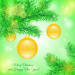 Christmas tree branch with Christmas yellow toys