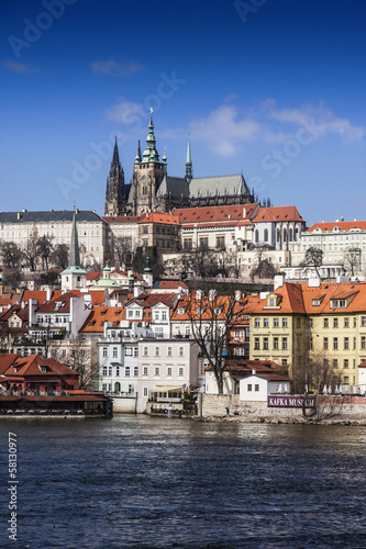 Prague castle view with a boat..