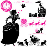 Fairytale Set - silhouettes of Cinderella, Pumpkin carriage