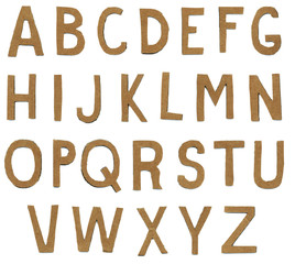 Brown torn paper alphabet letters