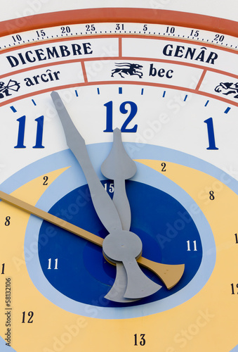 Close-up on Giant Calendar Wall Clock in Pesariis, Italy
