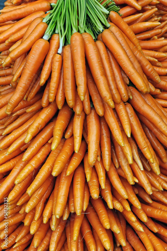Bunches of carrots in a market stall
