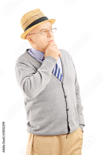 Senior man with hat in thoughts