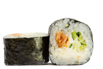 sushi roll in nori with salmon isolated on white background