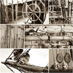 Collage von Details alter Segelschiffe, coloriert