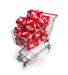Einkaufswagen mit Prozentewürfeln 2