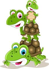 happy family of turtle cartoon