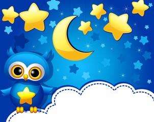Детский фон с совенком и звездным небом