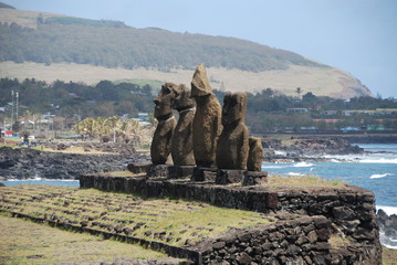 Line of statues on Easter Island