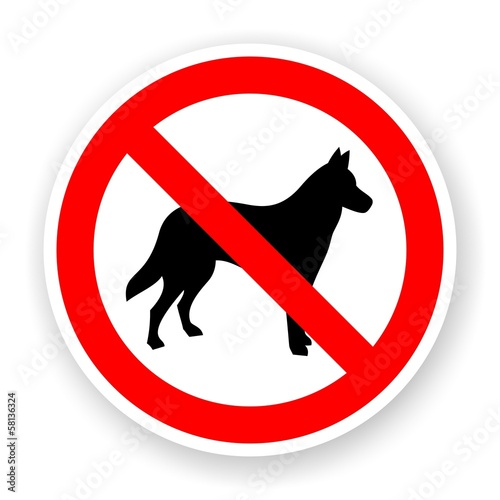 sticker of no dog sign