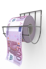 Roll of 500 euros bills