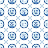 Delft blue seamless pattern