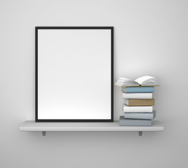shelf with frame and book