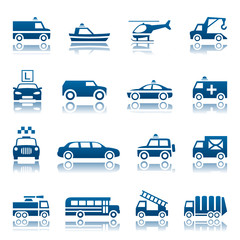 Emergency rescue and other special transportation icon set