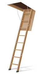 wooden ladder to the attic vector illustration