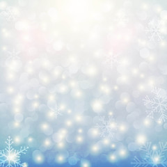 light blue background with snow and stars
