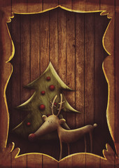 Christmas card - Rudolph with tree in wooden frame
