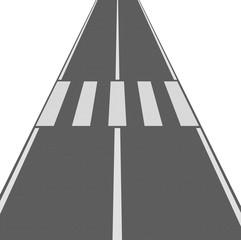 Strada con strisce pedonali