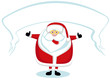 Smiling cartoon Santa with banner showing thumbs up